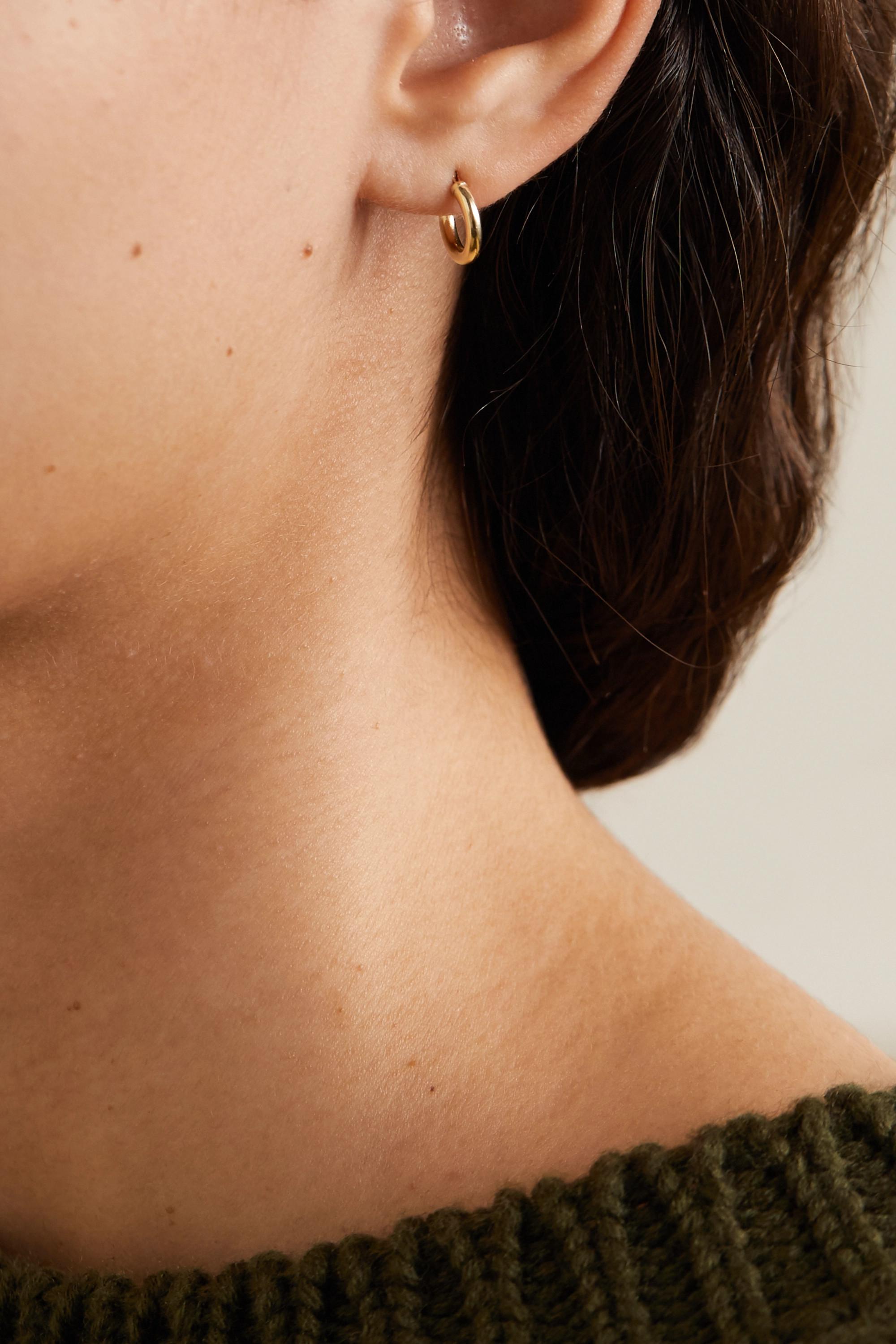 Loren Stewart + NET SUSTAIN gold hoop earrings