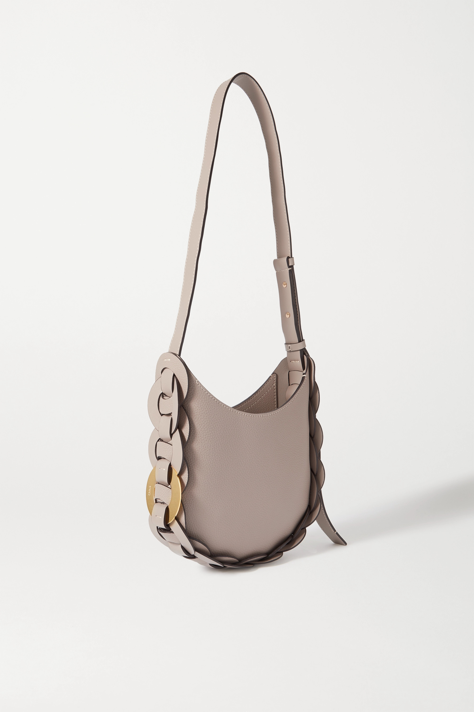 Chloé Darryl small braided smooth and textured-leather shoulder bag