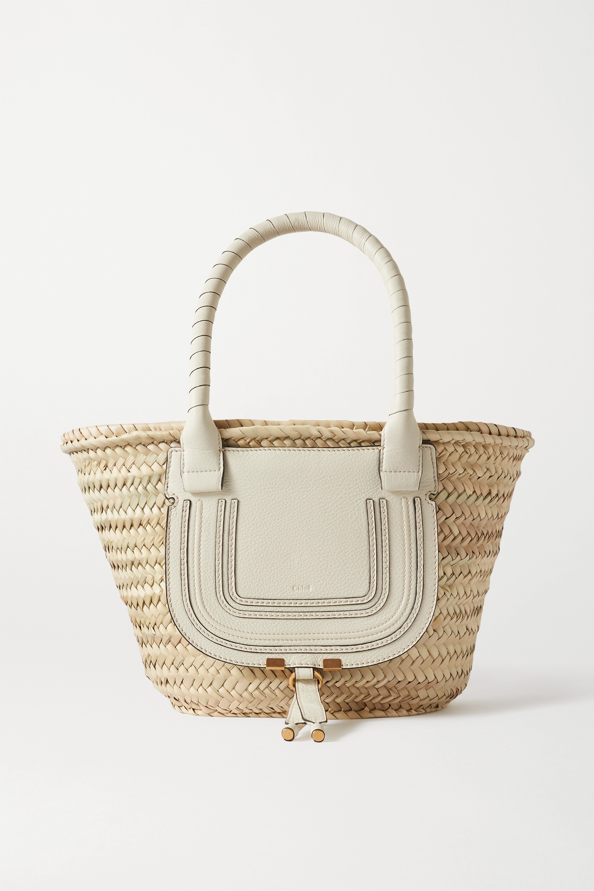 Chloé Marcie textured leather-trimmed raffia tote