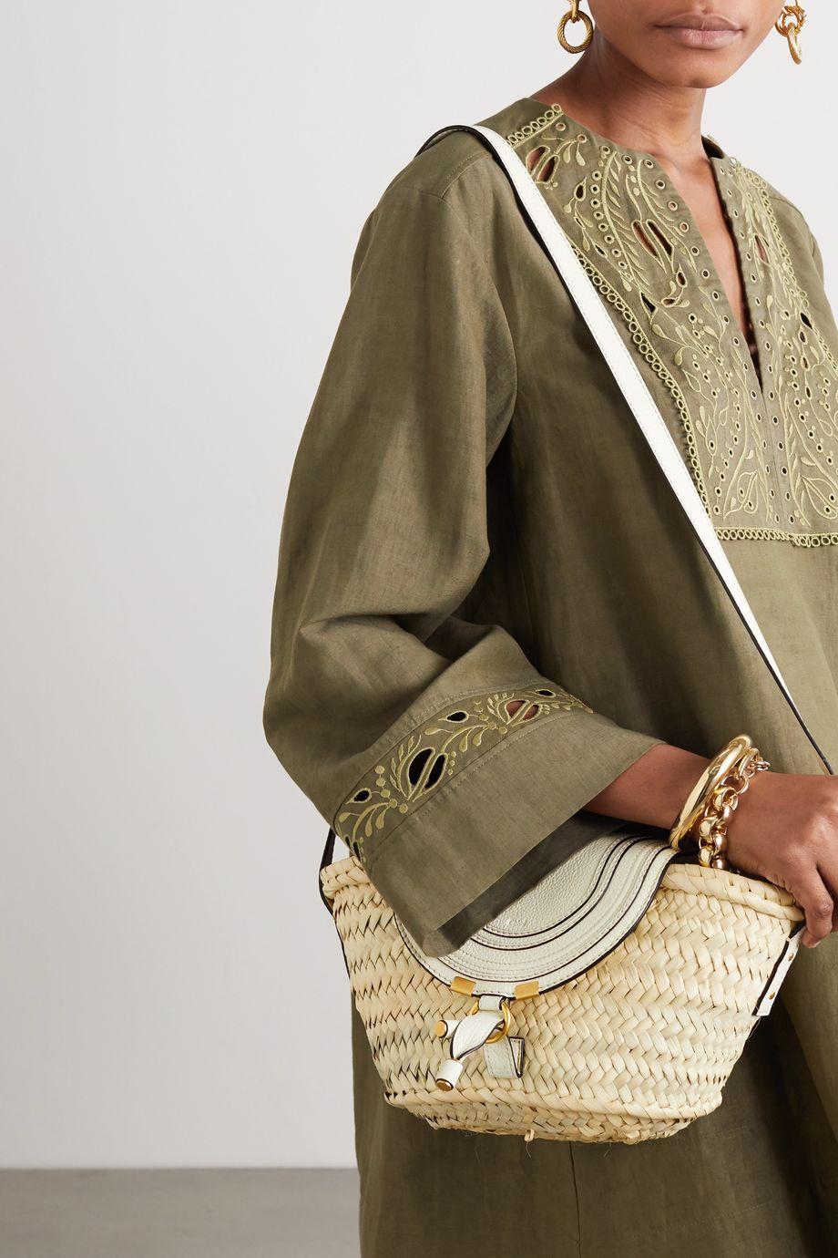Chloé Marcie leather-trimmed raffia shoulder bag