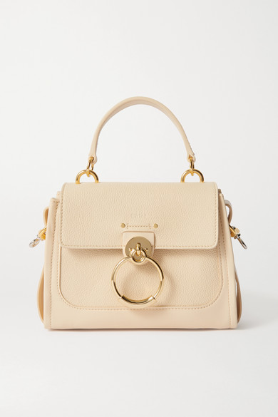Chloé Tess Day Mini Textured And Smooth Leather Shoulder Bag In Beige