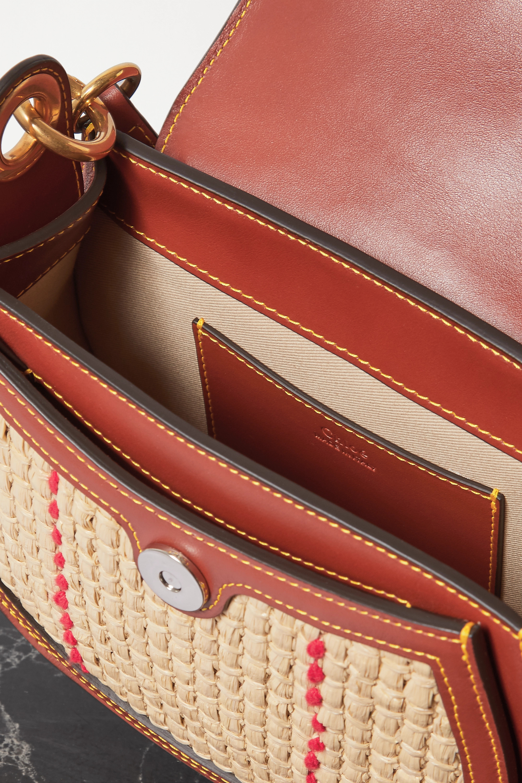 Chloé Tess small leather and raffia shoulder bag