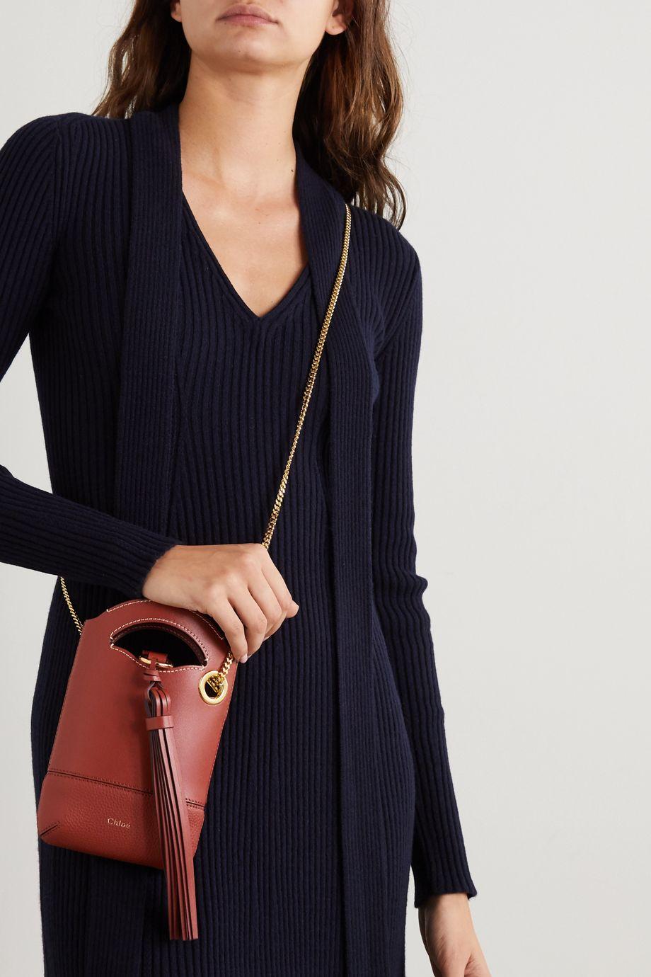 Chloé Walden tasseled suede and leather shoulder bag