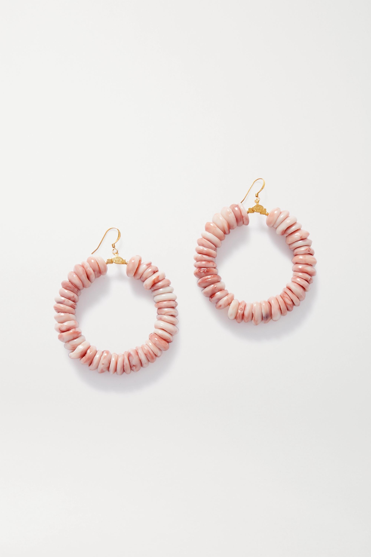 Kenneth Jay Lane Gold-tone and bead hoop earrings