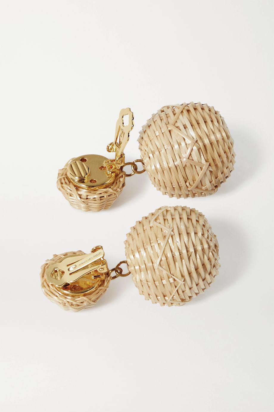 Rebecca de Ravenel Gold-tone and rattan clip earrings