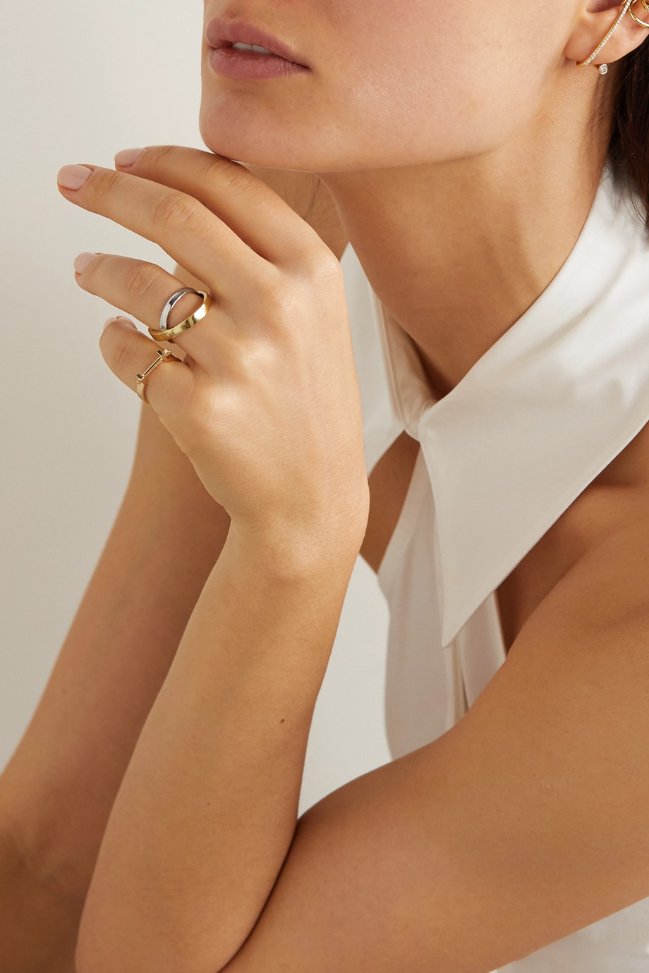 KATKIM Echo 18-karat white and yellow gold ring