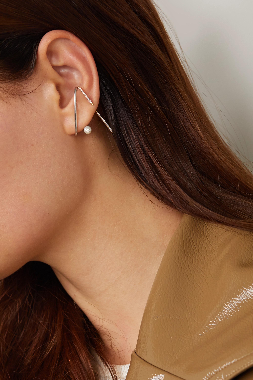 KATKIM Crescendo Flare Ohrring aus Weißgold mit Perle und Diamant