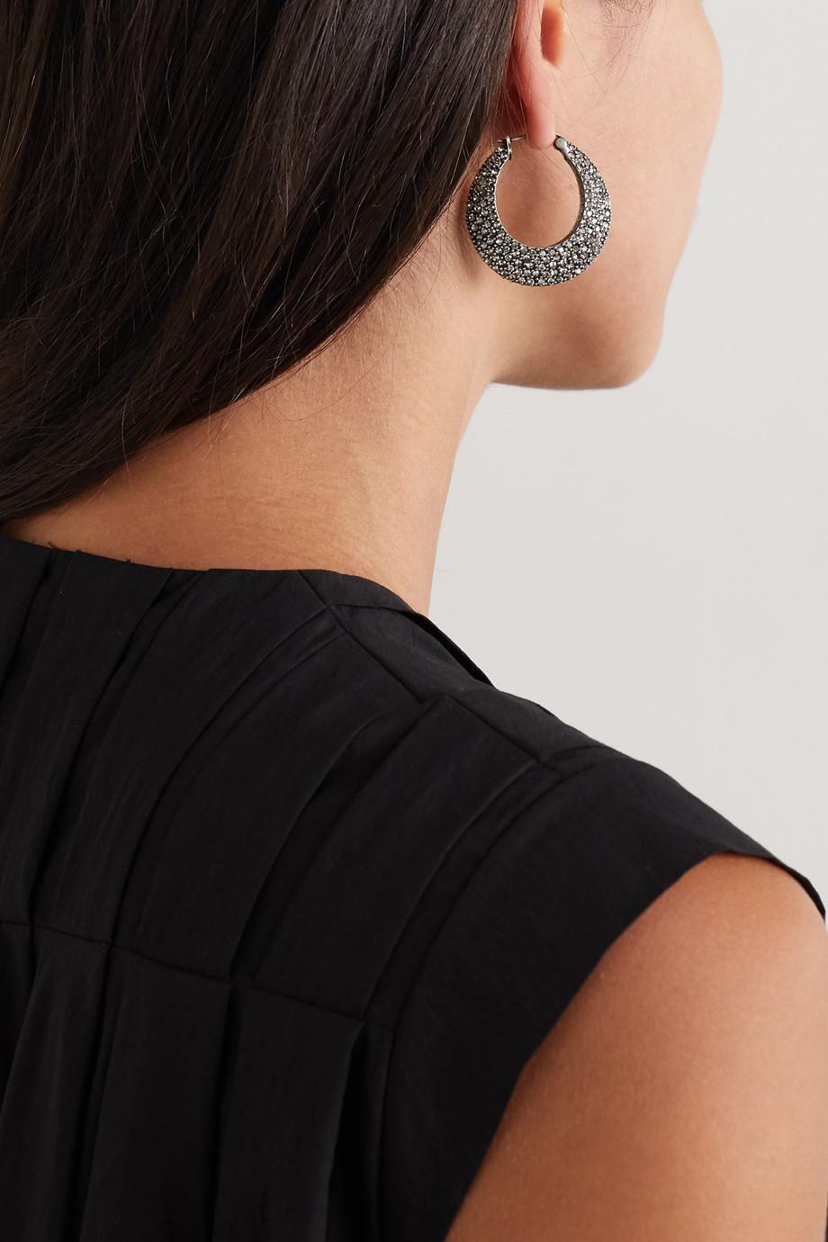 Etro Silver-tone crystal hoop earrings