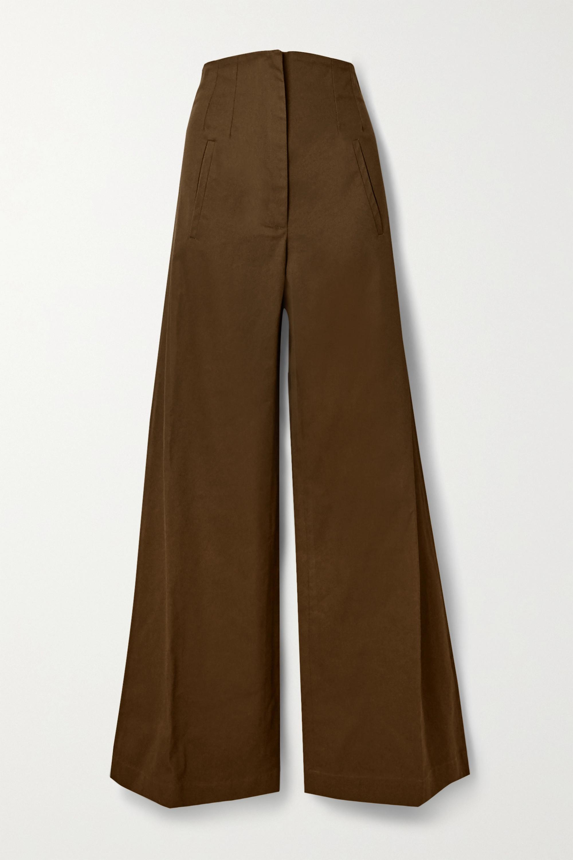 Army Green Beau Cotton-drill Wide-leg Pants | Anna Mason
