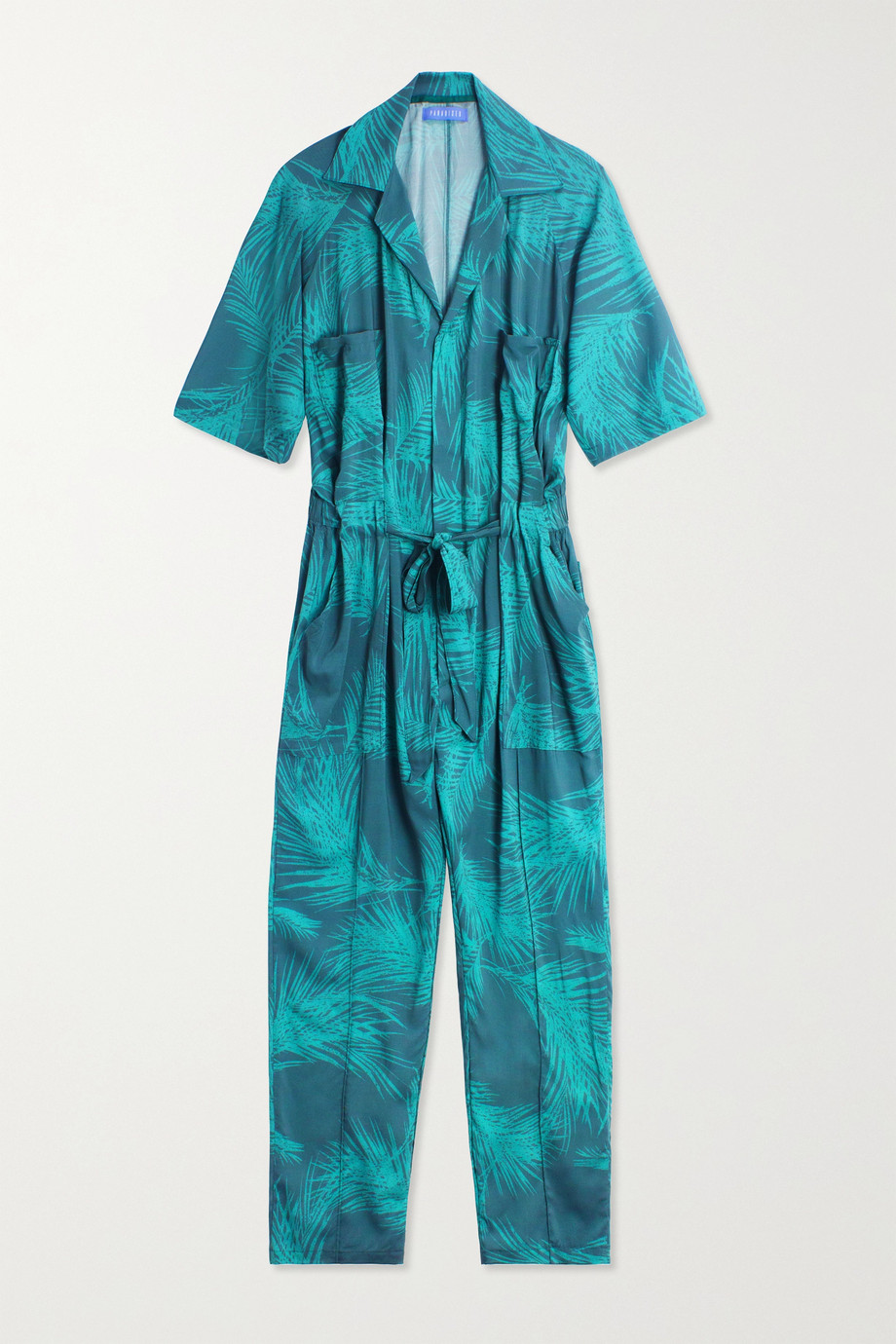 Paradised Apres belted printed voile jumpsuit