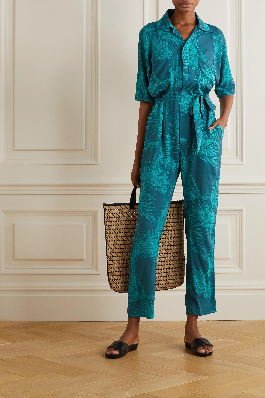 Paradised Apres belted printed voile jumpsuit
