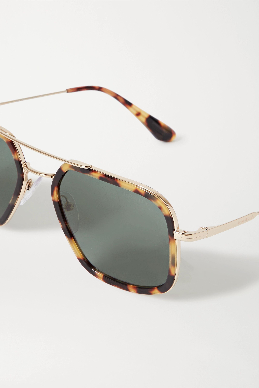 Prada Aviator-style gold-tone and tortoiseshell acetate sunglasses