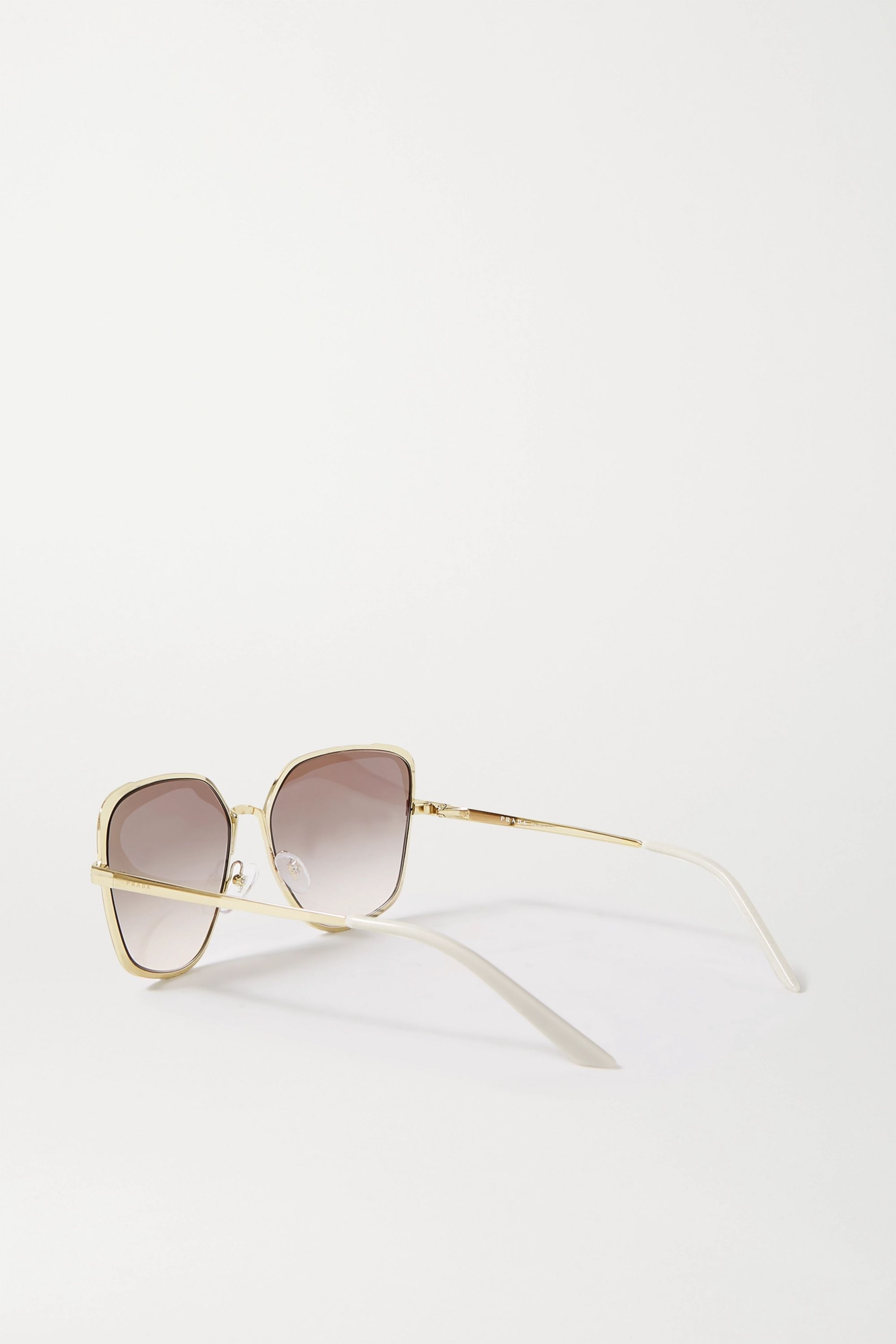 Prada Square-frame gold-tone, acetate and enamel sunglasses