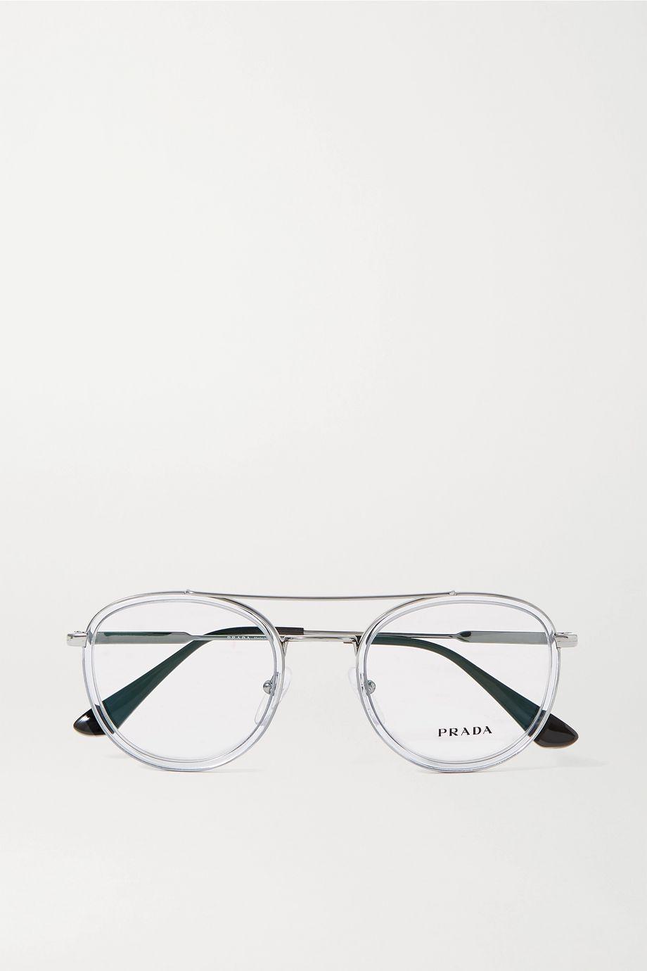 Prada Round-frame silver-tone and acetate optical glasses