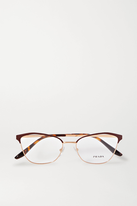 Prada Cat-eye rose gold-tone and acetate optical glasses