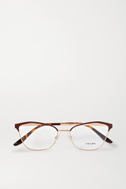 Cat-eye rose gold-tone and acetate optical glasses