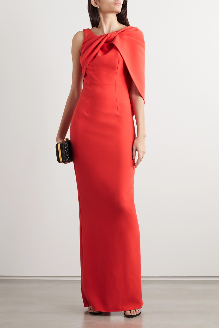 Safiyaa Knotted draped stretch-crepe gown