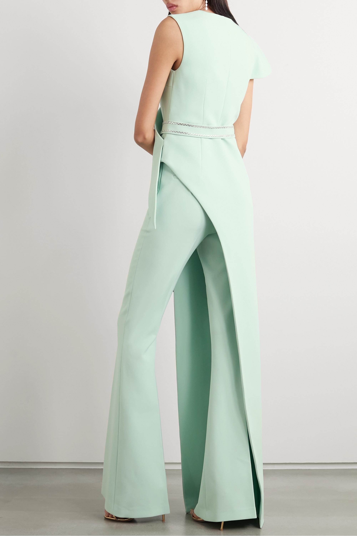 Safiyaa Asymmetric draped crystal-embellished stretch-crepe top