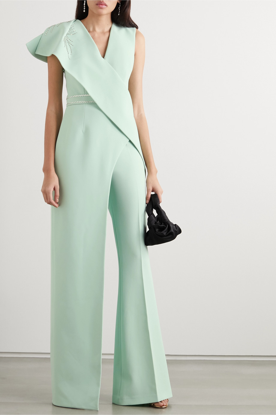 Safiyaa Asymmetric draped crystal-embellished stretch-crepe top