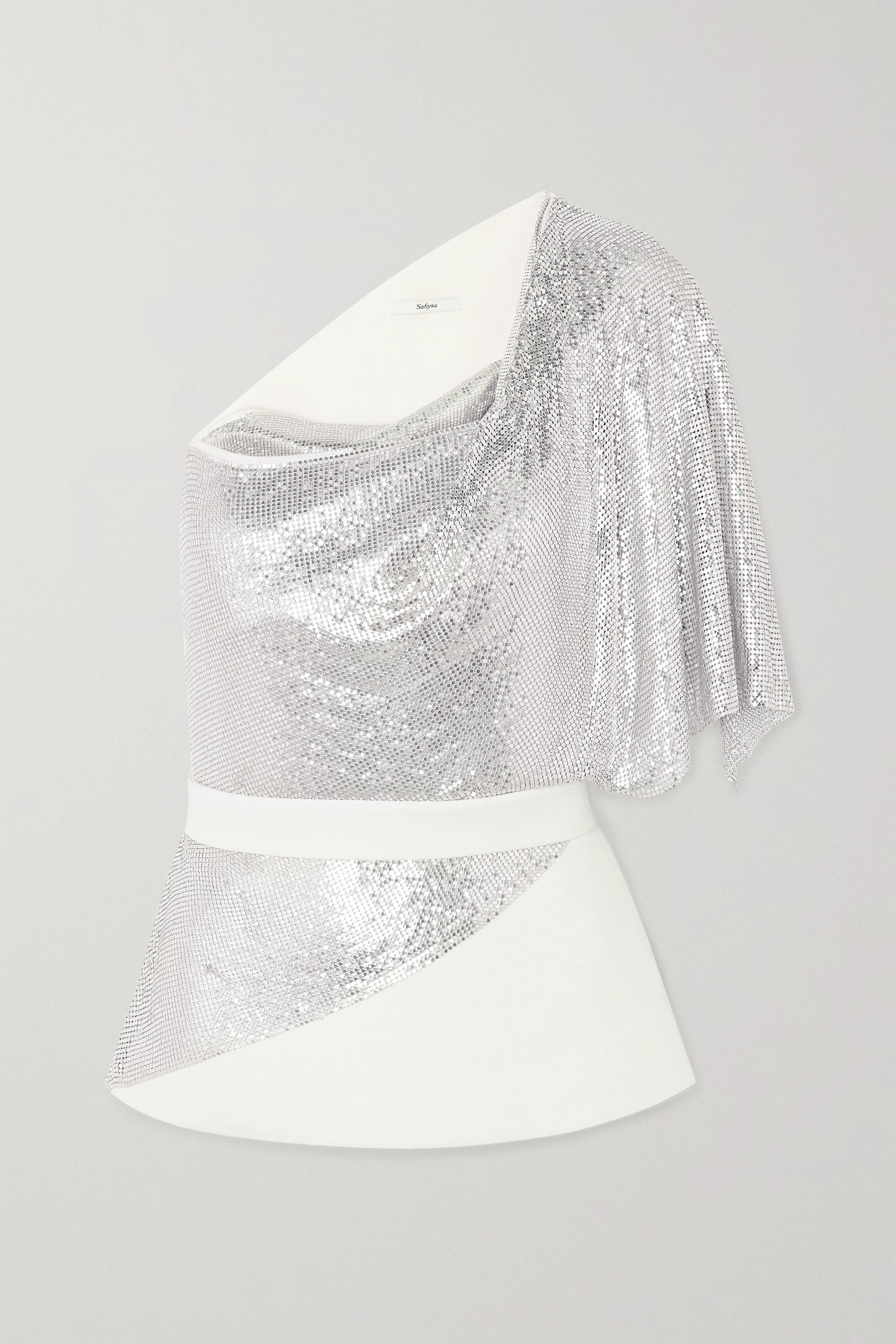 Safiyaa One-shoulder belted chainmail and crepe top