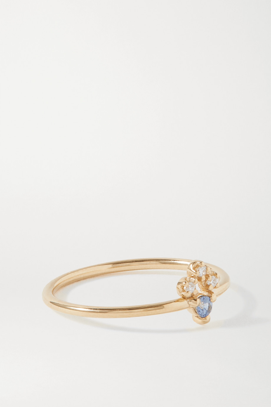 Wwake Bague en or, diamants et saphir Posy