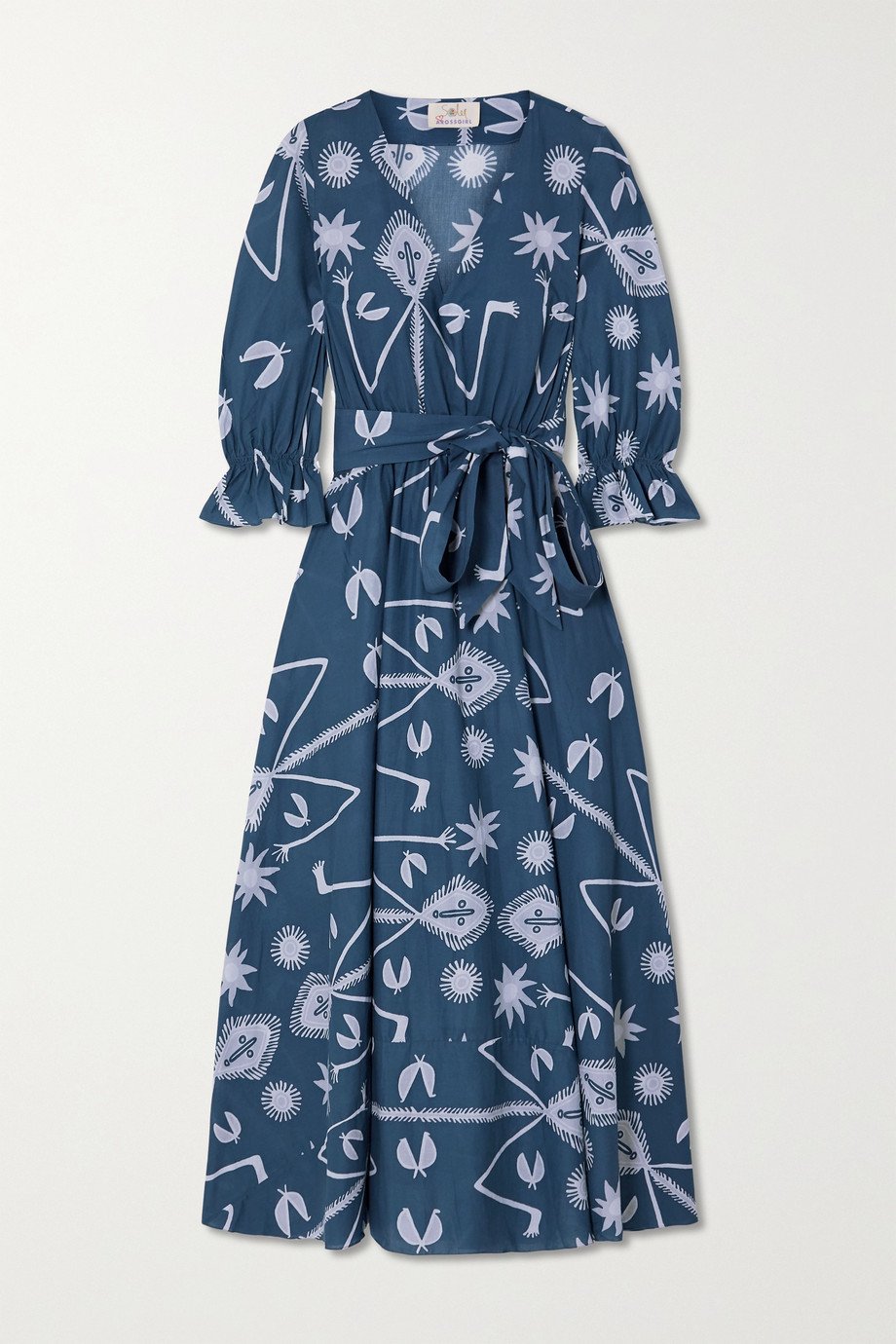 ARoss Girl x Soler Amanda belted printed cotton-voile maxi dress