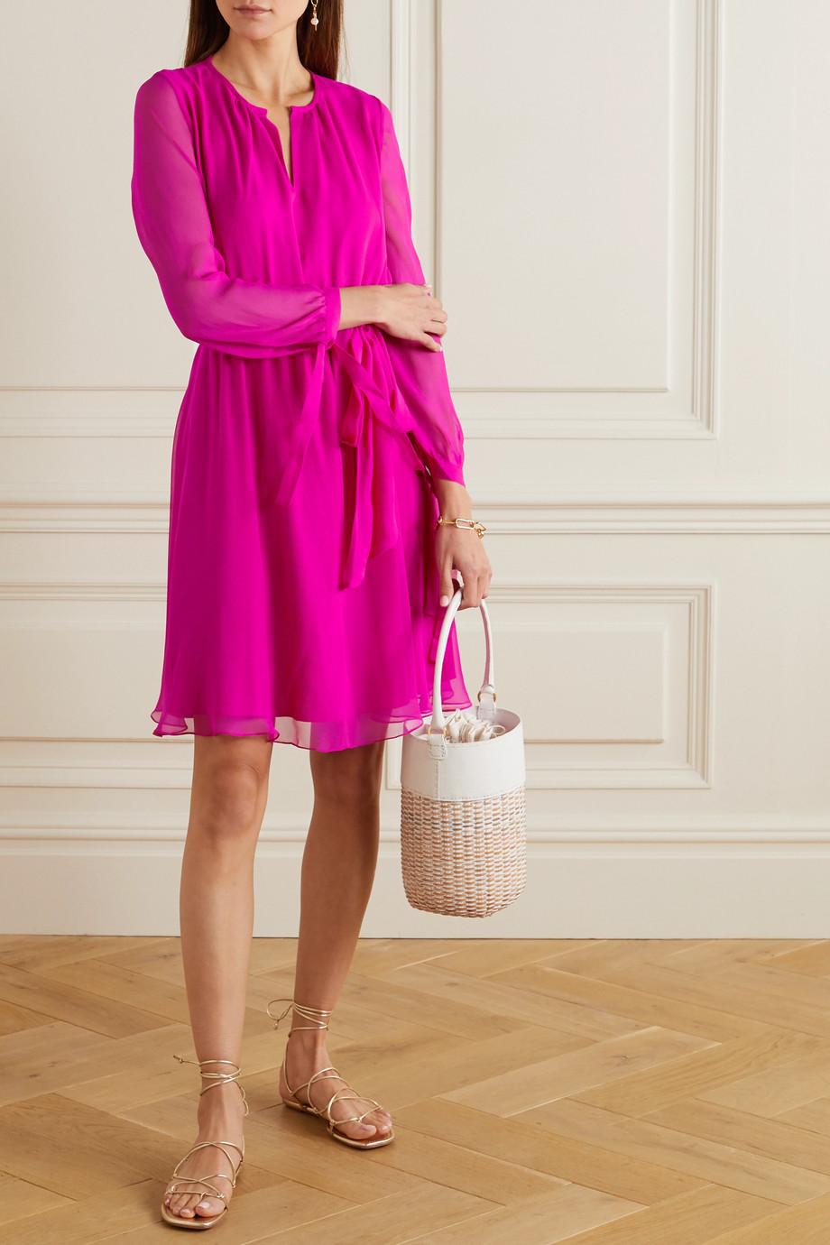 ARoss Girl x Soler Amanda Minikleid aus Seiden-Voile mit Bindegürtel