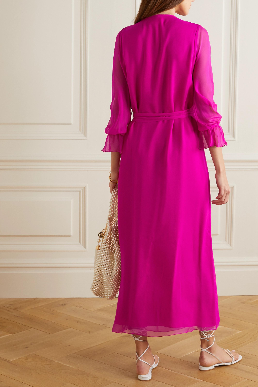 ARoss Girl x Soler Amanda belted silk-voile maxi dress