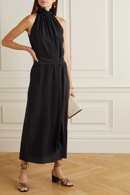 ARoss Girl x Soler Gretchen belted silk crepe de chine halterneck maxi dress