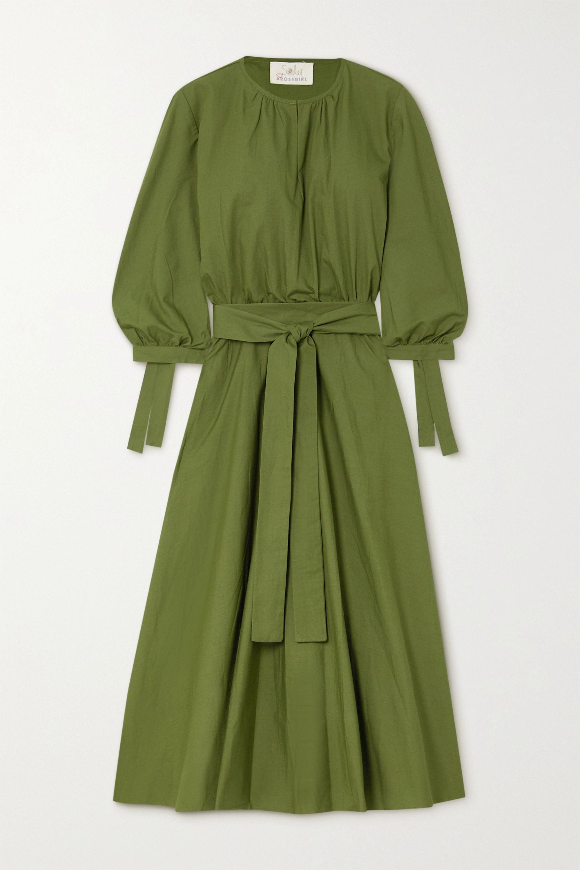 ARoss Girl x Soler Amanda belted cotton-poplin midi dress