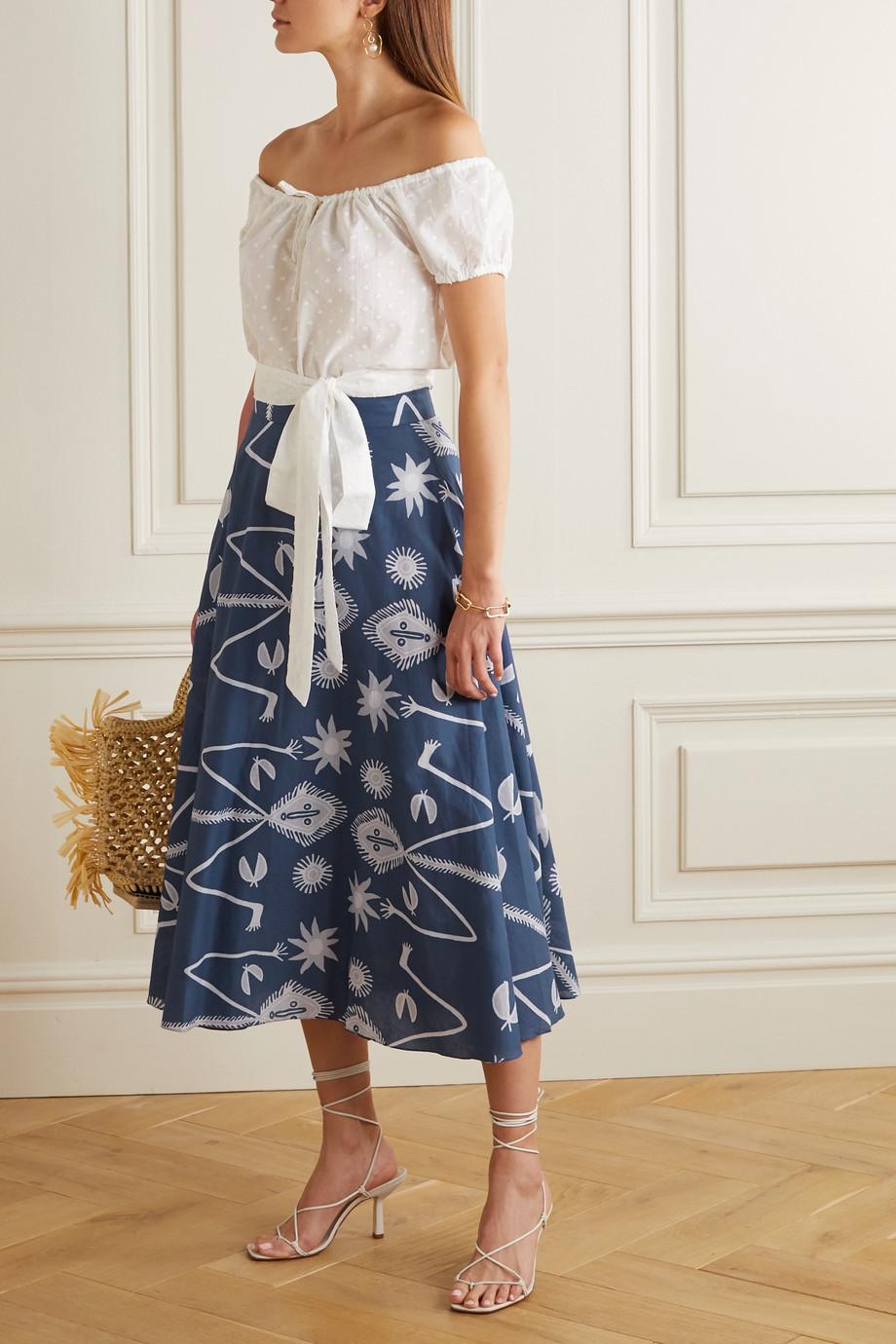 ARoss Girl x Soler Alex printed cotton-voile midi skirt