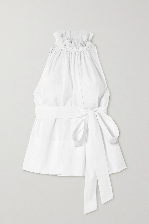 ARoss Girl x Soler Gretchen belted ruffled cotton-poplin top