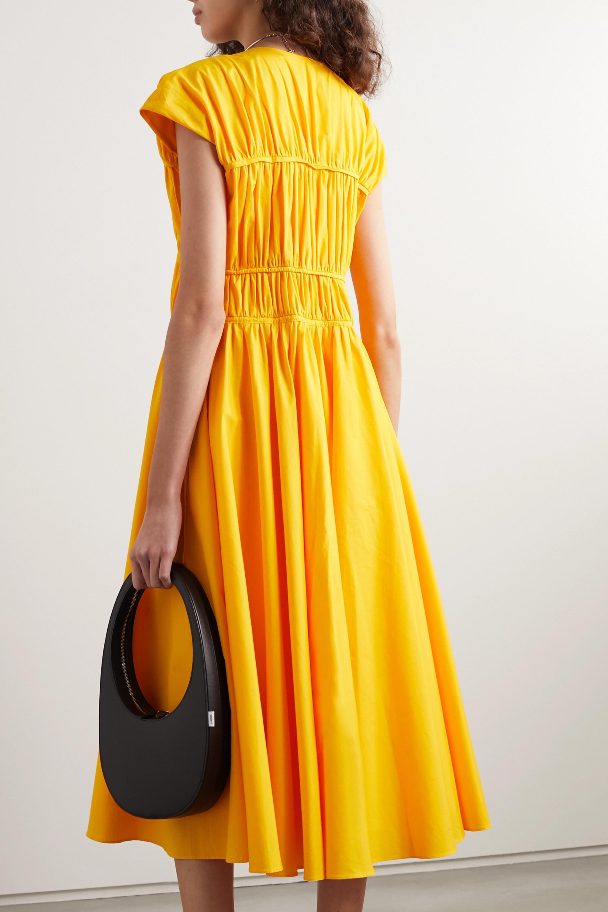 Marigold Ceres Tie-detailed Gathered Cotton-poplin Midi Dress | Tove