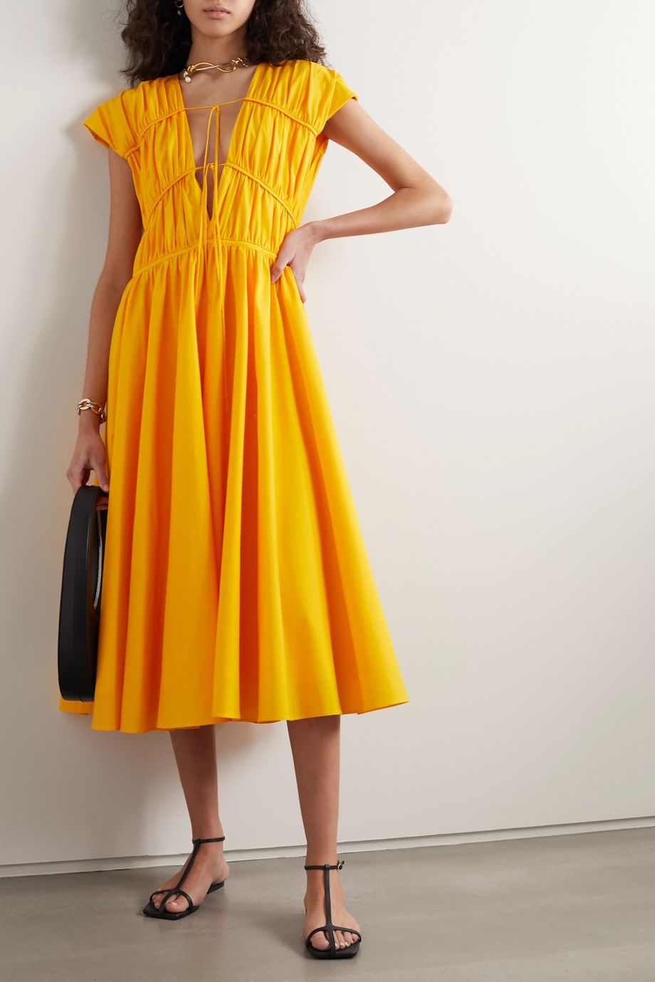 TOVE Ceres tie-detailed gathered cotton-poplin midi dress