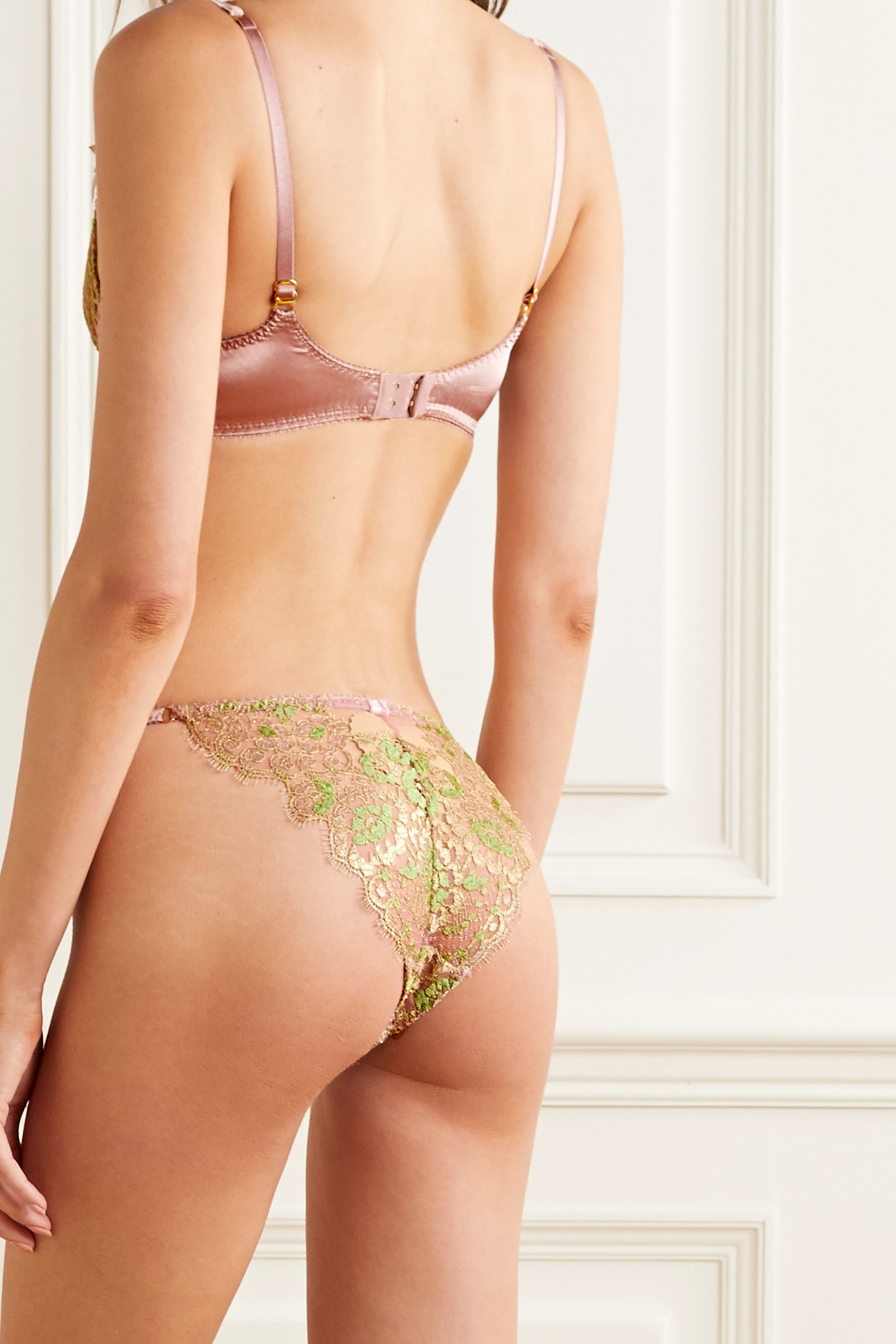 Agent Provocateur Biju metallic Leavers lace and silk-blend satin underwired bra