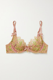Agent Provocateur Biju metallic Leavers lace and silk-blend satin underwired bra