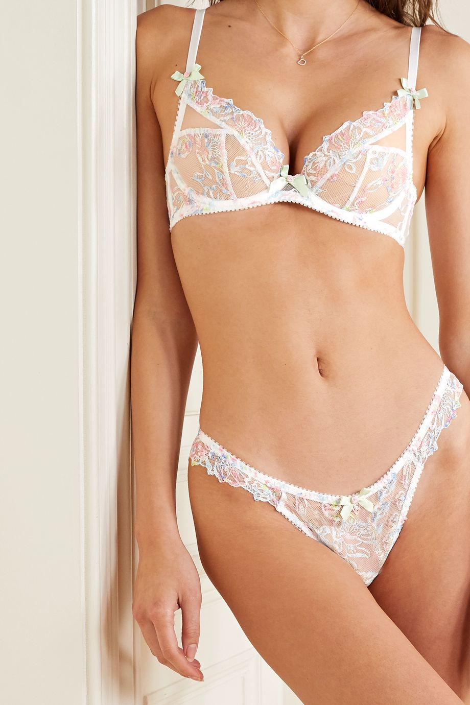 Agent Provocateur Leisha embroidered tulle thong