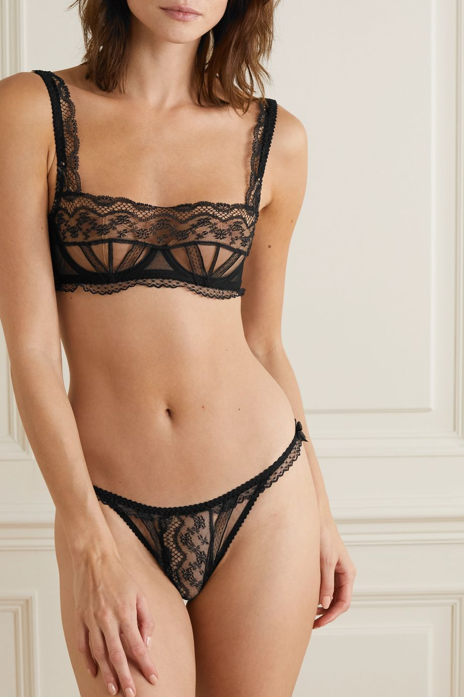 Agent Provocateur Austin lace and stretch-tulle soft-cup underwired bra