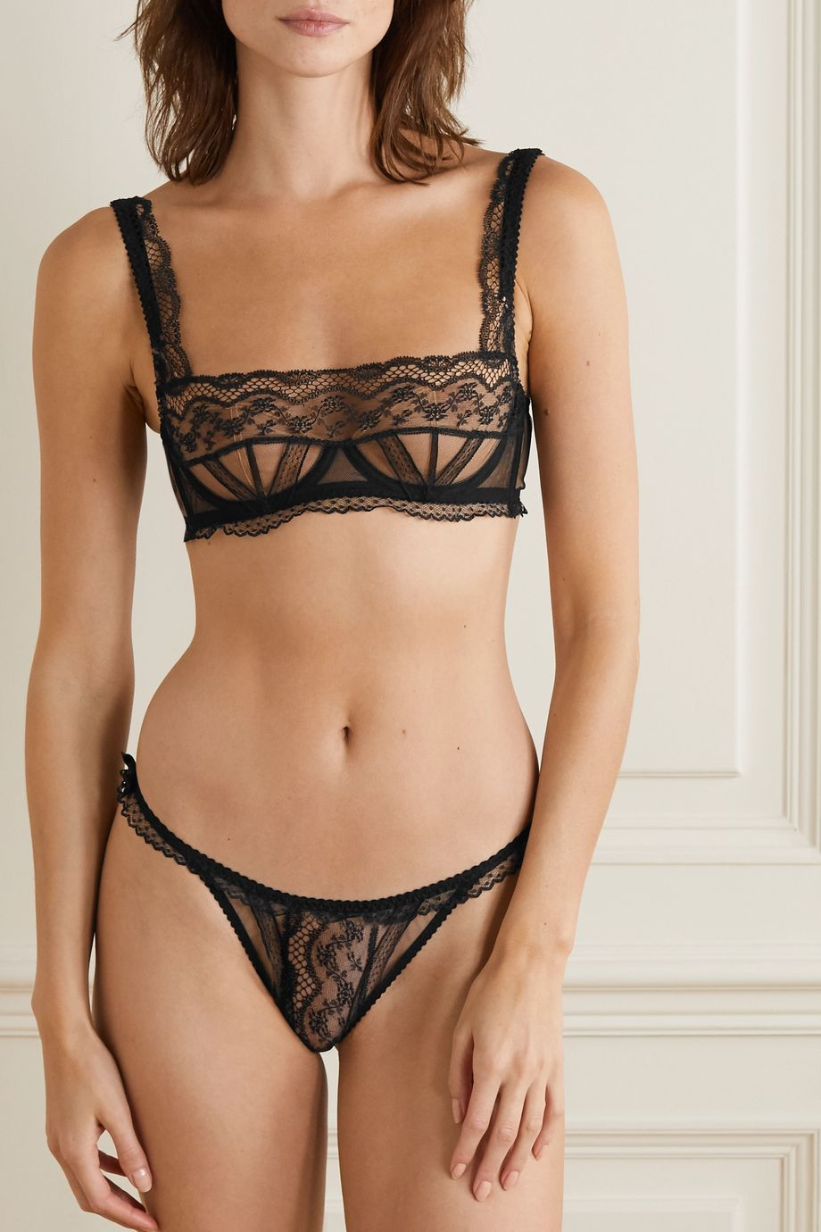 Agent Provocateur Austin lace and stretch-tulle thong
