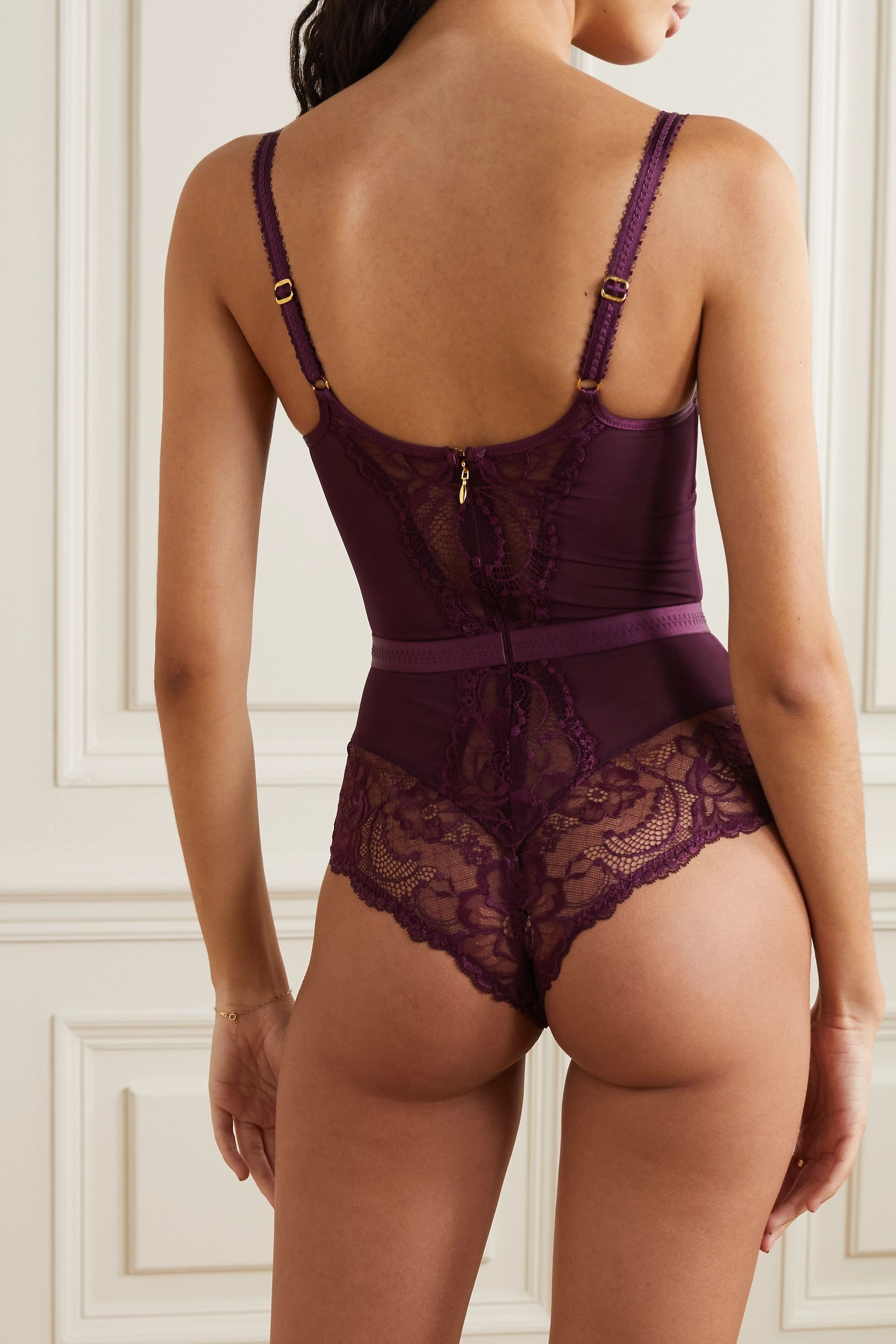 Agent Provocateur Carmella satin-trimmed stretch-lace and tulle underwired bodysuit