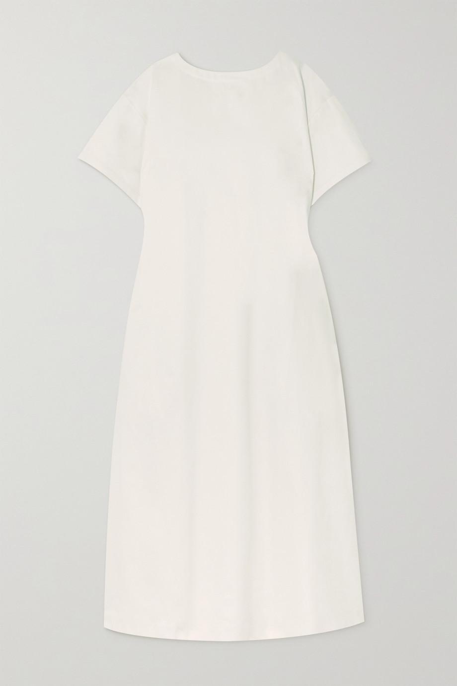 King & Tuckfield Gathered open-back organic cotton-twill maxi dress
