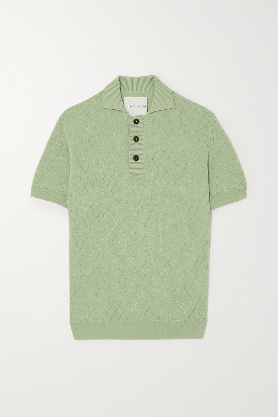 King & Tuckfield Jacquard-knit merino wool polo shirt