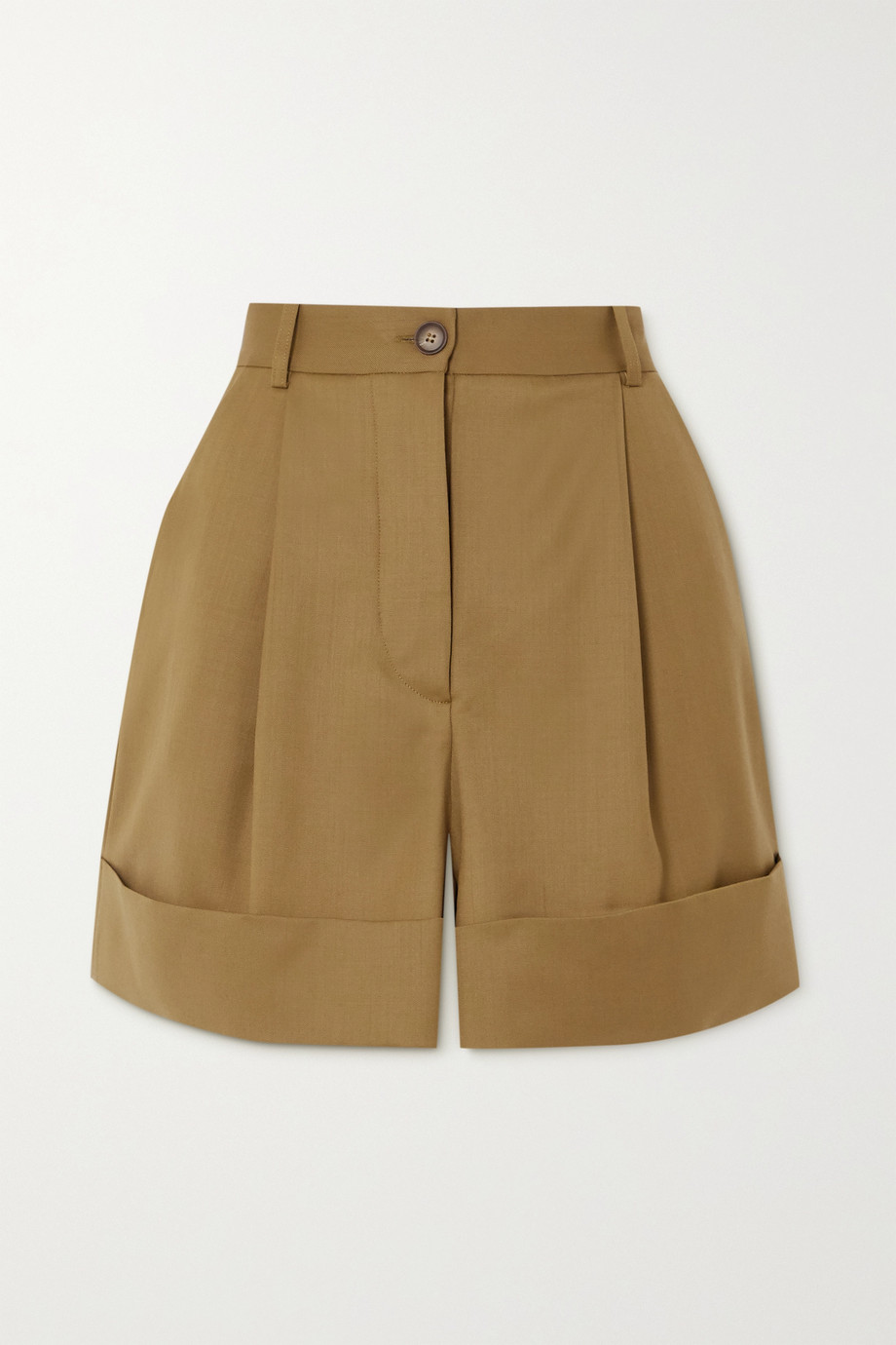 King & Tuckfield Pleated wool-twill shorts