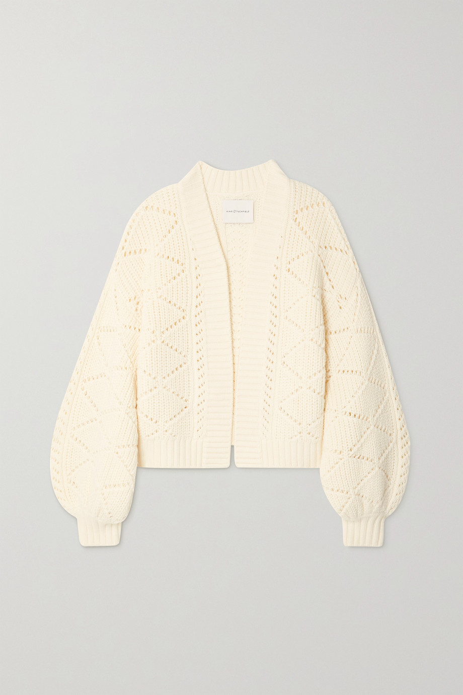 King & Tuckfield Pointelle-knit merino wool cardigan