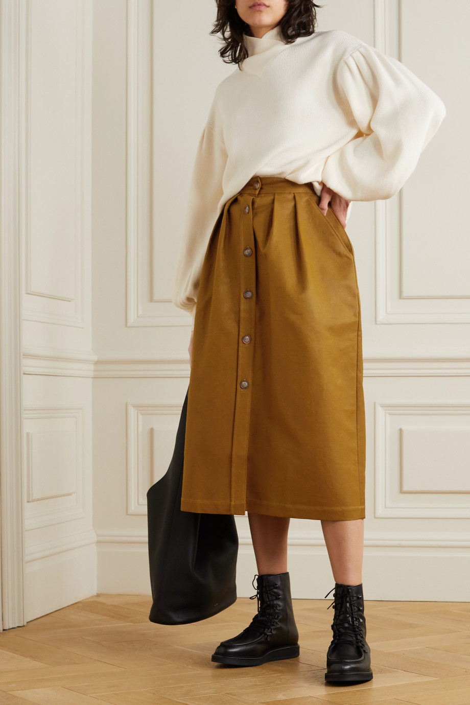 King & Tuckfield Cotton-blend gabardine midi skirt
