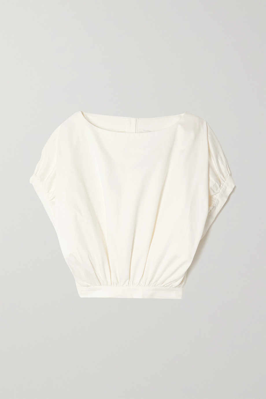 King & Tuckfield Cropped organic cotton-twill top