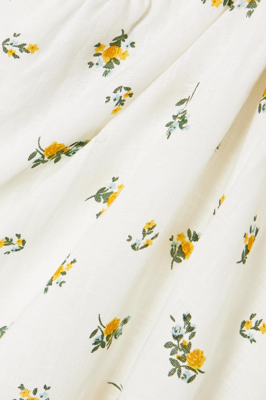Faithfull The Brand Robe midi en lin à imprimé fleuri et à smocks Gianna - NET SUSTAIN