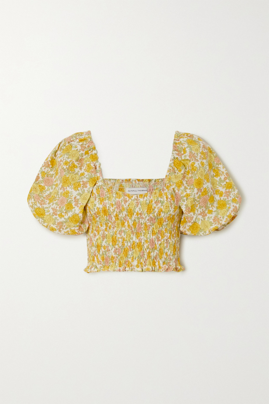 Faithfull The Brand + NET SUSTAIN Robina cropped shirred floral-print linen top