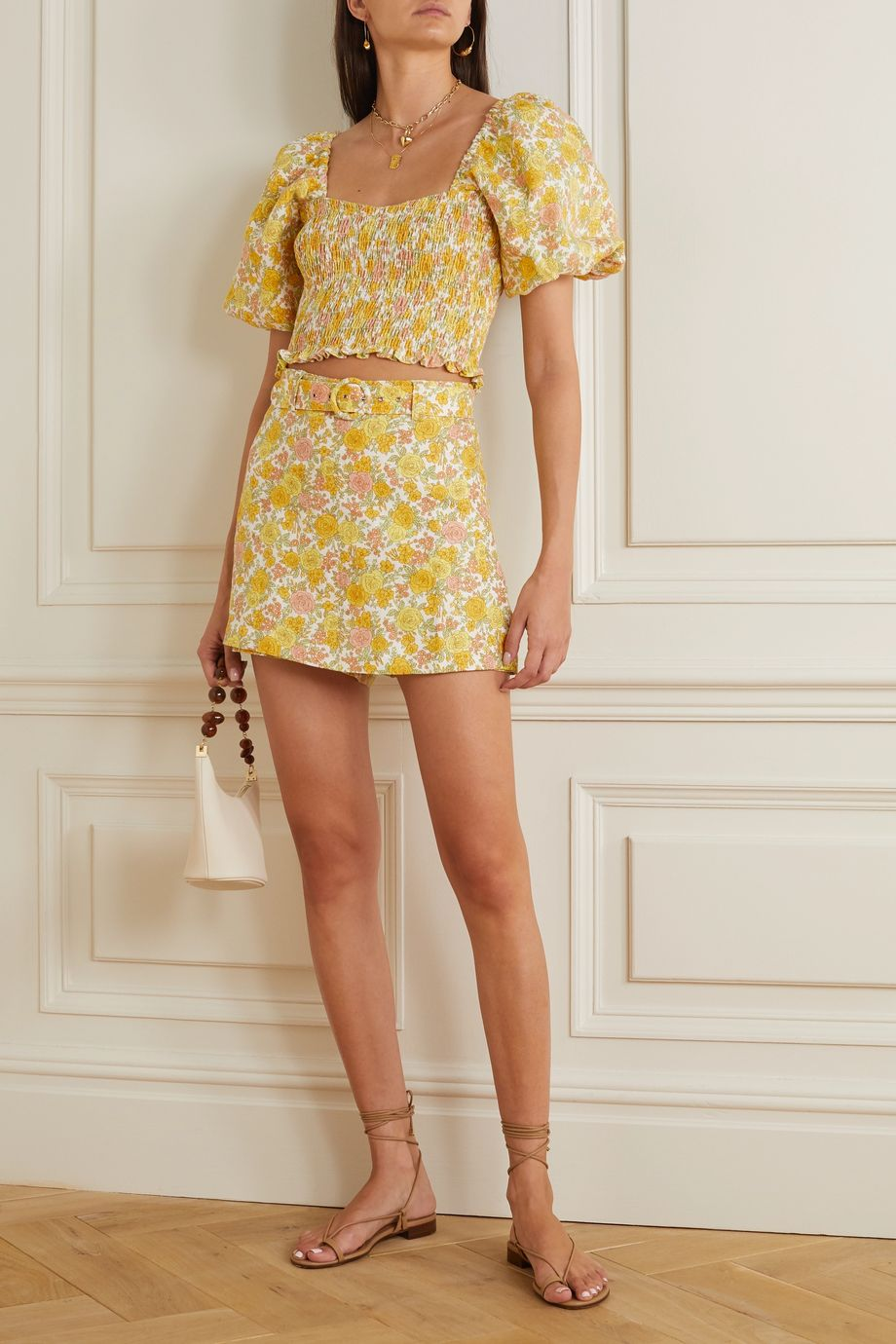 Faithfull The Brand + NET SUSTAIN Celia belted layered floral-print linen shorts