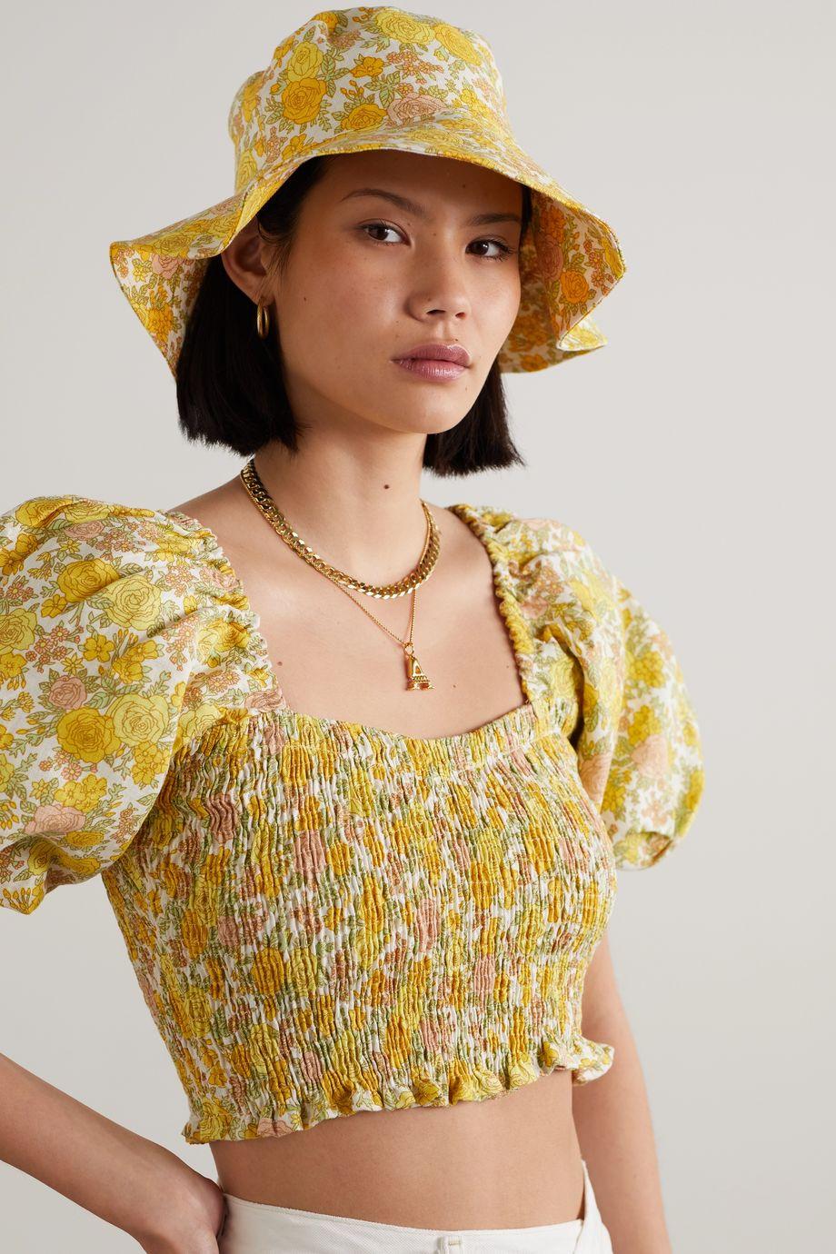 Faithfull The Brand 【NET SUSTAIN】Bettina 花卉印花亚麻遮阳帽